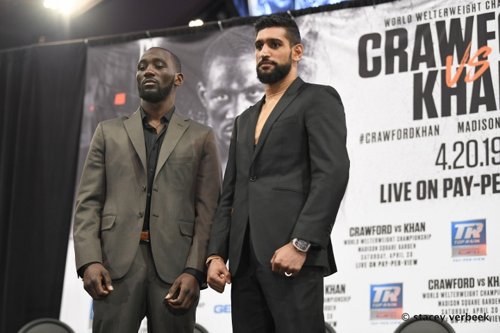 Amir Khan pulled out after being struck by Terence Crawford low blow