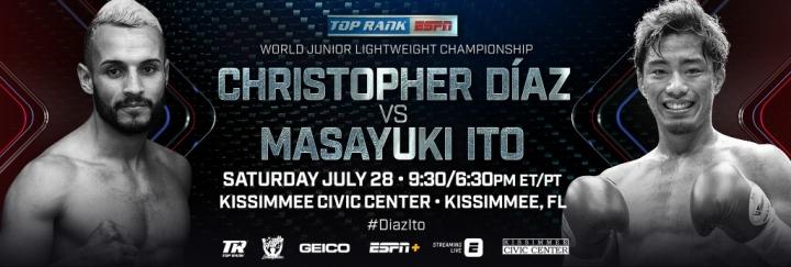 Christopher Diaz vs  Masayuki Ito For WBO Belt - July 28