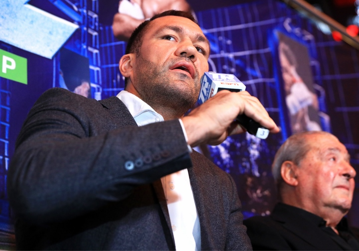 Kubrat Pulev kisses female reporter Jennifer Ravalo after win over Bogdan Dinu