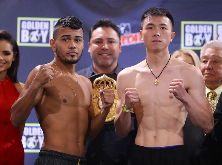 Jesus Rojas Vs Xu Can Weigh-in And Stare