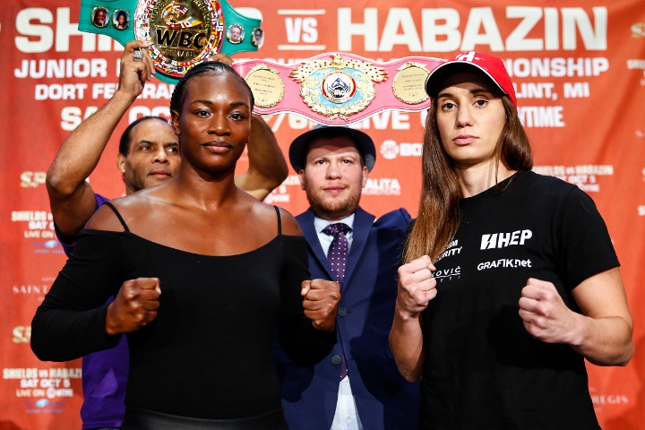 Claressa Shields vs Ivana Habazin fight off after trainer attacked at weigh
