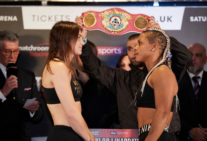 Katie Taylor has weighed in for tonight's WBO super lightweight title fight